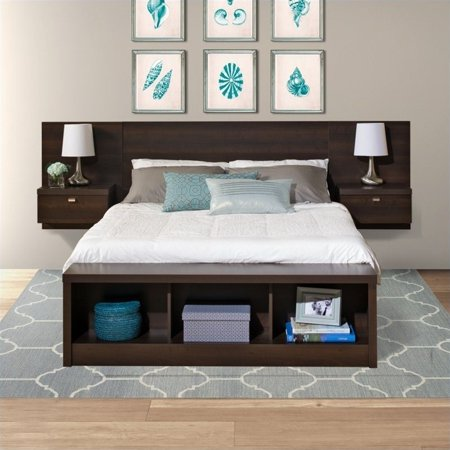 Kyoto King Bed (Kingfisher Lane King Platform Storage Bed with Floating Headboard )