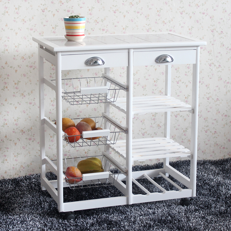 Ktaxon Wood Kitchen Storage Rolling Cart Dining Trolley Storage Cabinet W/ Drawers,White