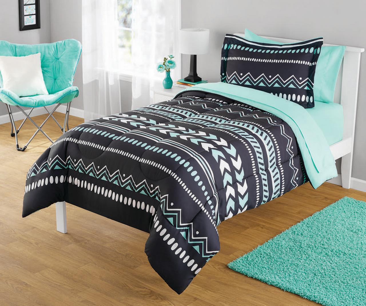 Your Zone Mint Grey Tribal Comforter Set Walmart Com Walmart Com