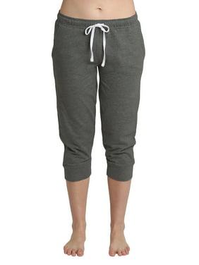 Blis Women Yoga Workout Lounge Cotton Jogger Capri Pant Pockets and Drawstring Standard Plus and Maternity Dark Heather Grey Size 2X