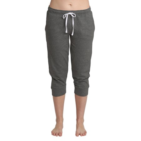 Blis Women Yoga Workout Lounge Cotton Jogger Capri Pant Pockets and Drawstring Standard Plus and Maternity Dark Heather Grey Size 2X