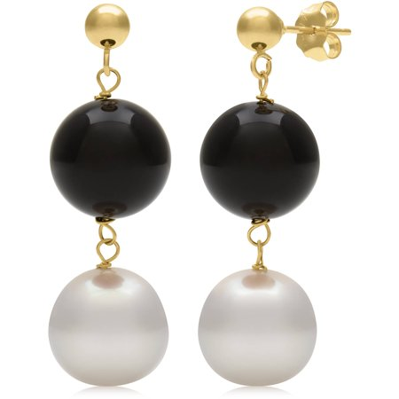 7.5-8.5mm Cultured Freshwater Pearl and Black Onyx 14kt Yellow Gold Drop Dangle Earrings
