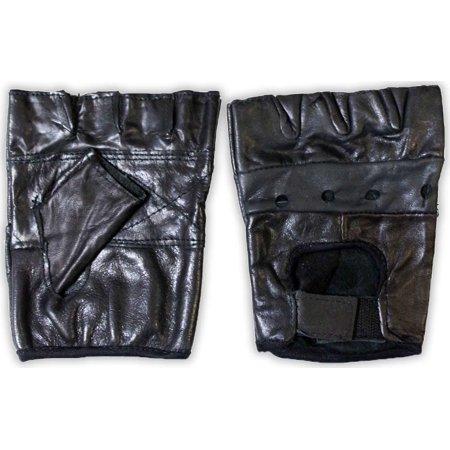 X-large X-large Color - Men's Size Black Leather Fingerless Gloves with Ventilation Holes