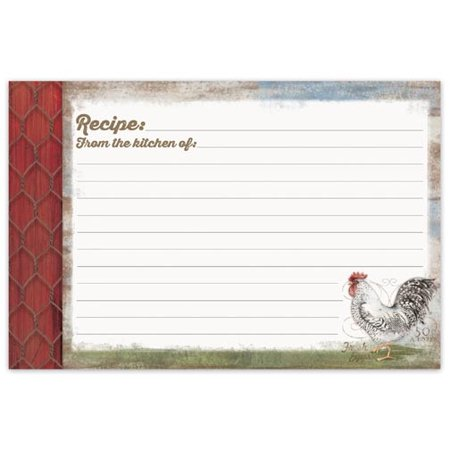 Brownlow Gifts Recipe Cards 4 x 6 - Barnyard Rooster - Easy Halloween Recipes For Parties