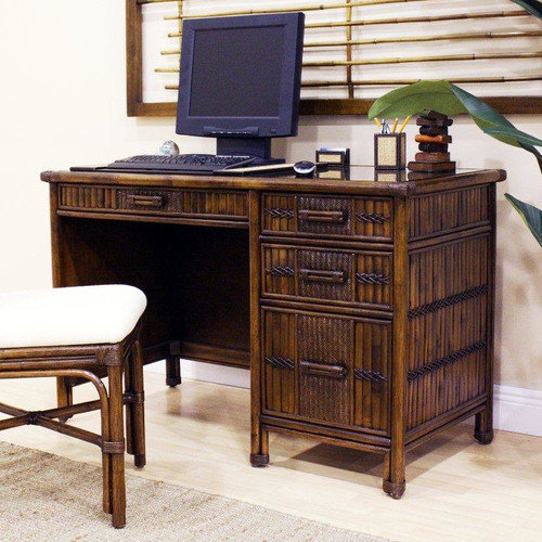 Hospitality Rattan Polynesian Computer Desk with Keyboard Tray