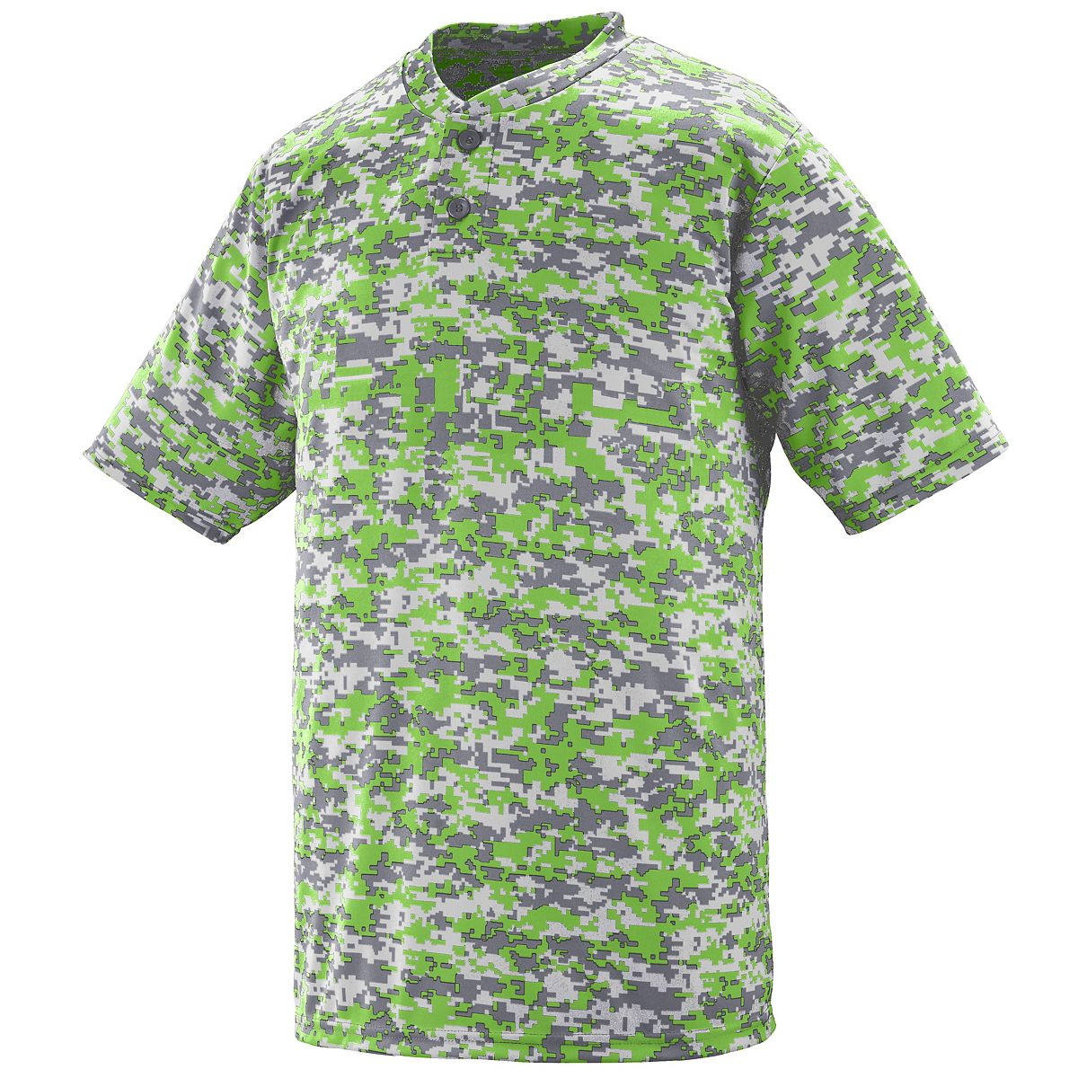 1556 Youth Digi Camo Wicking Two-button Jersey LIME DIGI S