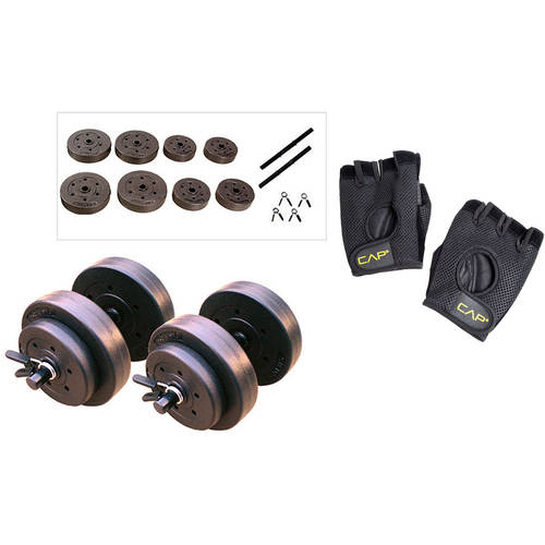 Gold's Gym Vinyl Dumbbell Set, 40 lbs with CAP Weight Glove Value Bundle