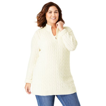 Woman Within Plus Size Cable Knit Half-Zip Pullover Sweater Cardigan Plus Cable Knit Trim Sweaters