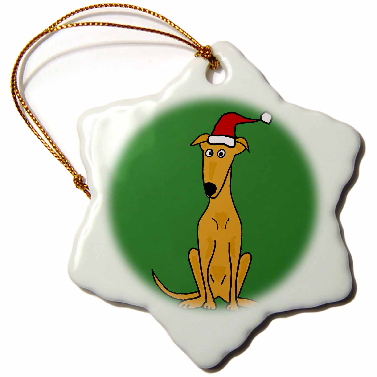 3dRose Funny Greyhound Puppy Dog in Santa Hat Christmas Art, Snowflake Ornament, Porcelain, 3-inch