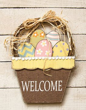 Welcome Spring Easter Basket Easter Eggs Flowers Decoration Hanging Sign NEW