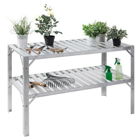 Costway Aluminum Workbench Greenhouse Prepare Work Potting Table Storage Garage Shelves (Aluminum Structures Dual Shelf)