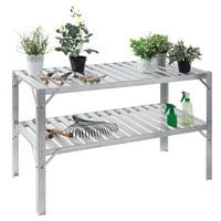 Costway Aluminum Workbench Greenhouse Prepare Work Potting Table Storage Garage Shelves
