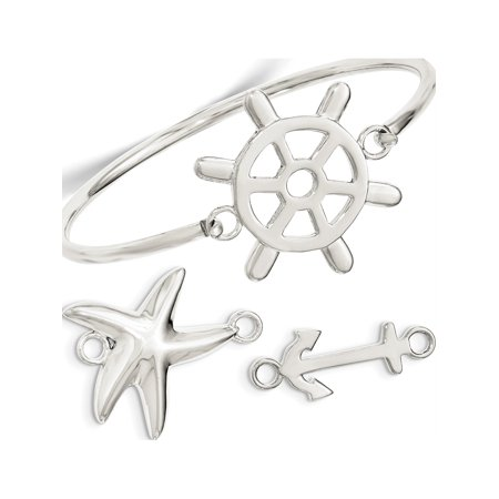 Leslies Fine Jewelry Designer 925 Sterling Silver with Interchangeable Nautical s 3mm Bangle Pendant Gift - Nautical Jewelry