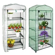 4 Tier Portable Mini Greenhouse, Warm House Plant Shed with Cover,1 Randomized White or Green