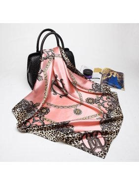 Womens Pink Leopard Silk Satin Square Scarves Office Fashion Head Shawl