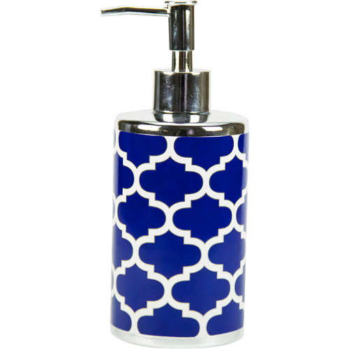 Mainstays Fretwork Lotion/Soap Pump, Navy/White