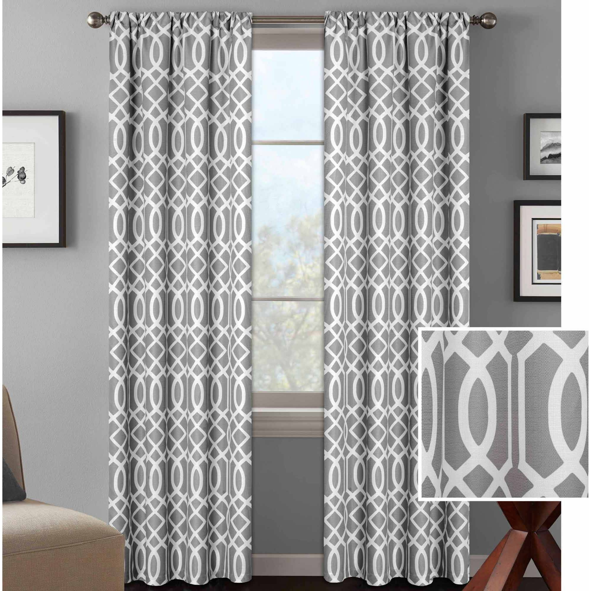 Mainstays Chevron Polyester Cotton Curtain Panel Pair Walmart