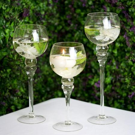 Efavormart Set of 3 | Clear Long Stem Globe Glass Vase Tabletop Candle Holders Wedding Party Centerpiece Decoration - Modern Wedding Centerpieces