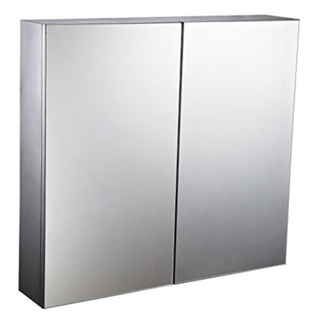 HomCom 22 in. Stainless Steel Double Door Wall Mount Mirror Medicine Cabinet ()