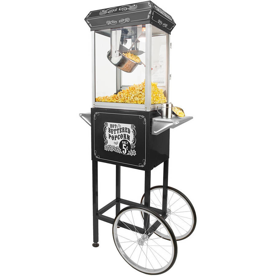 Funtime 4 oz Full-Size Hot Oil Popcorn Maker Machine with Cart, Black and Silver