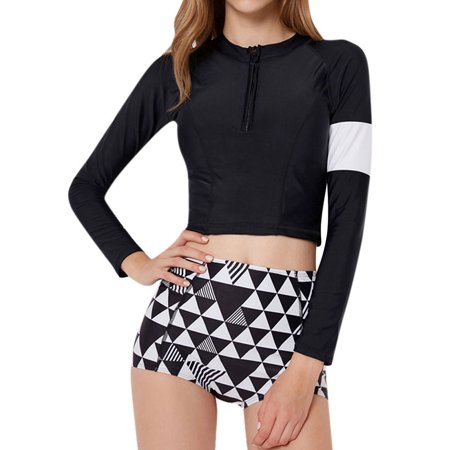- Nlife Women's Long Sleeve Colorblock 2 Pieces Swimsuit