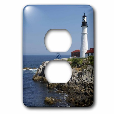 3dRose Portland Head Lighthouse, Cape Elizabeth ME - US20 KRS0002 - Keith and Rebecca Snell, 2 Plug Outlet Cover (Lighthouse Outlet)