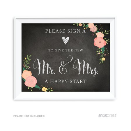 Sign Heart, Give Couple A Happy Start Chalkboard & Floral Roses Wedding Party (Happy Heart Sign)