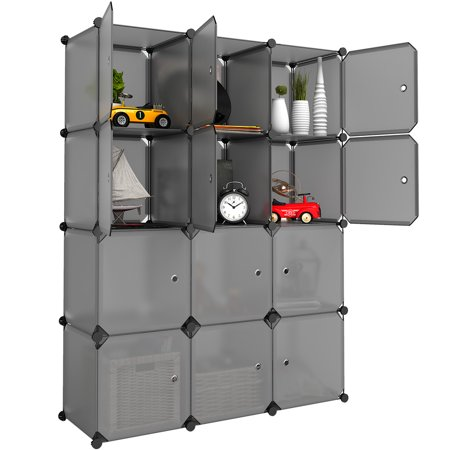 Silk Toy Bag - LANGRIA 12-Cube Cabinet Storage Unit Organiser for Kids Stackable Plastic Cube Shelves Multifunctional Modular Cupboard Wardrobe with Animal Cartoons on Doors for Clothes Shoes Toys School Bags