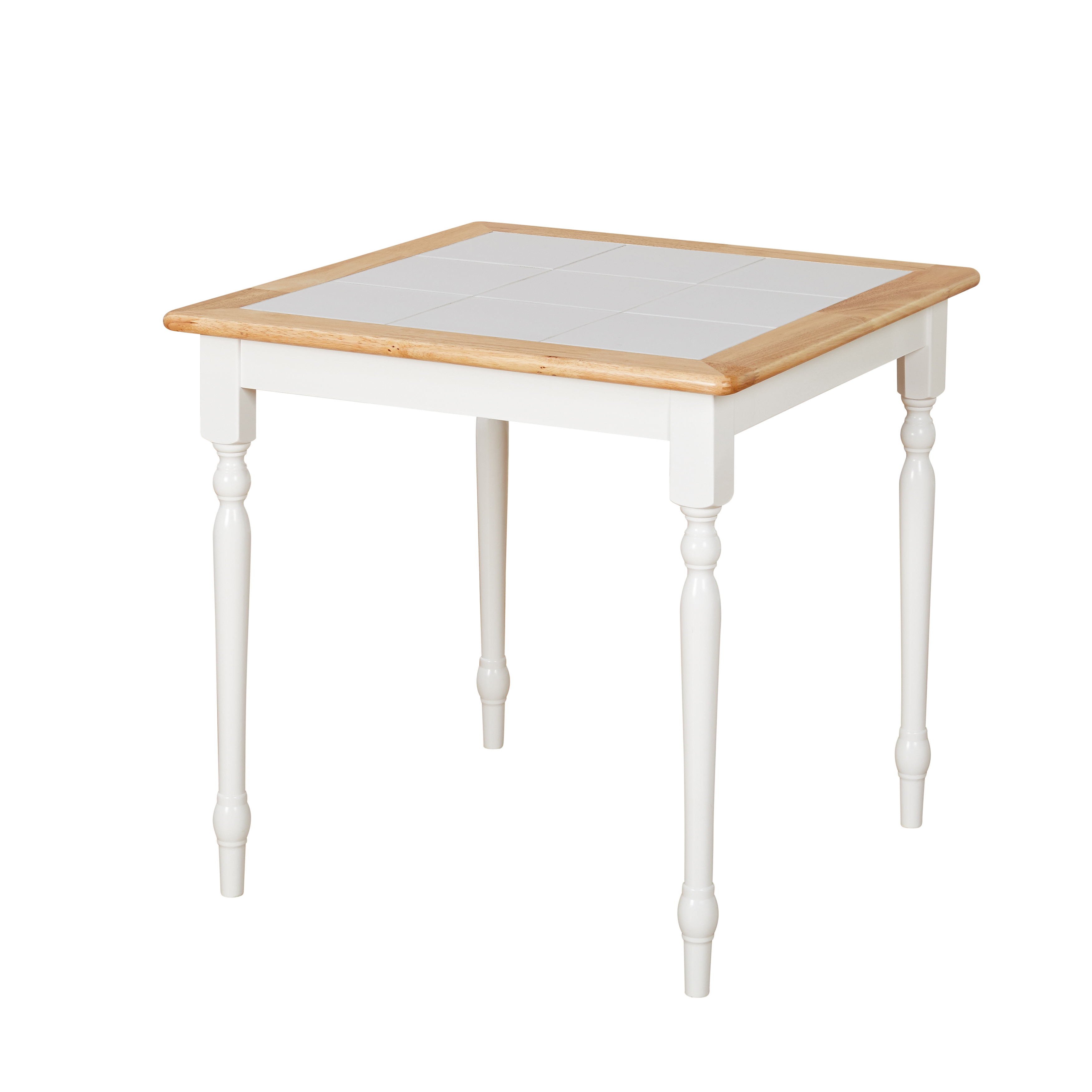 TMS Tile Top Square Dining Table, White/Natural