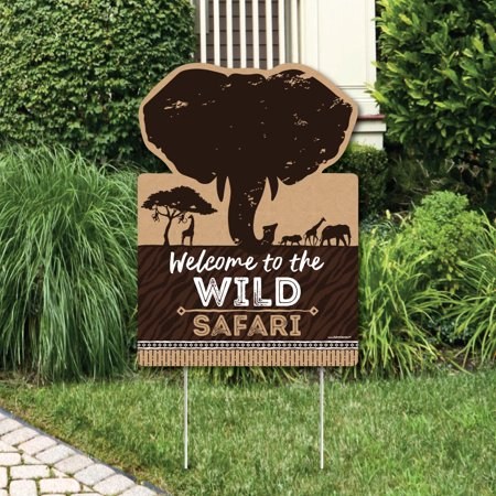 Wild Safari - Party Decorations - African Jungle Adventure Birthday Party or Baby Shower Welcome Yard Sign - Safari Decorations