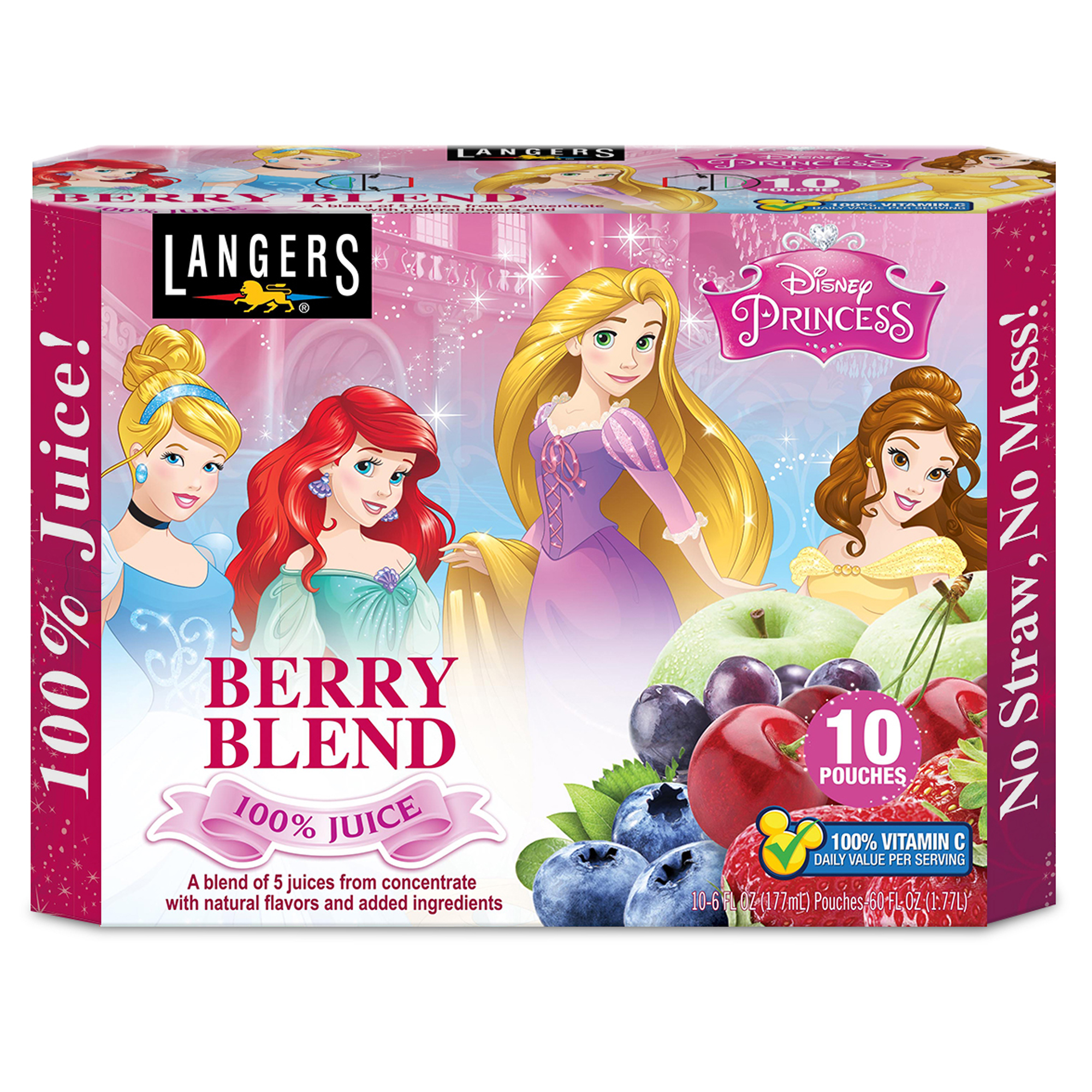 Langers Disney Princesses 100% Juice Pouches, Berry Blend, 6.75 Fl Oz, 10 Count