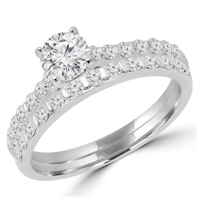 Majesty Diamonds MD170256-4.25 0.87 CTW Round Diamond Solitaire with Accents Engagement Ring & Wedding Band Set in 18k White Gold - Size 4.25 - image 1 de 1