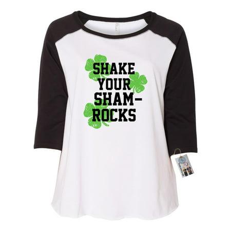 St Patricks Day Shake Your Shamrocks Shirt Plus Size Womens Raglan Sleeve T Shirt