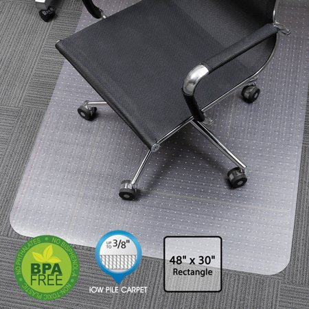 SLYPNOS Translucent Rectangular Office Chair Mat Carpet Protector with Non-Slip Studded Backing, BPA and Phthalate Free, for Low Pile Carpets, 48