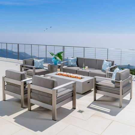 Miller Outdoor 4 Piece Set of Club Chairs with a 3 Seater Loveseat and Light Grey Firepit, Khaki ()