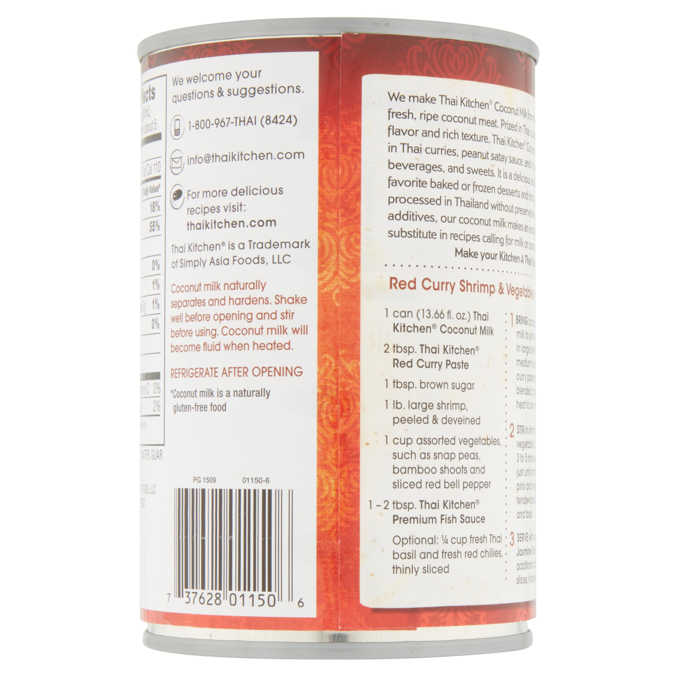 thai® kitchen unsweetened coconut milk 13.66 fl. oz. can - walmart