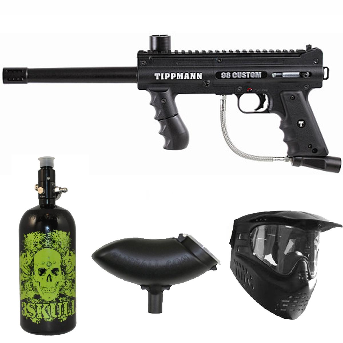 Tippmann 98 Custom PS Paintball Marker Gun 3Skull N2 Package by