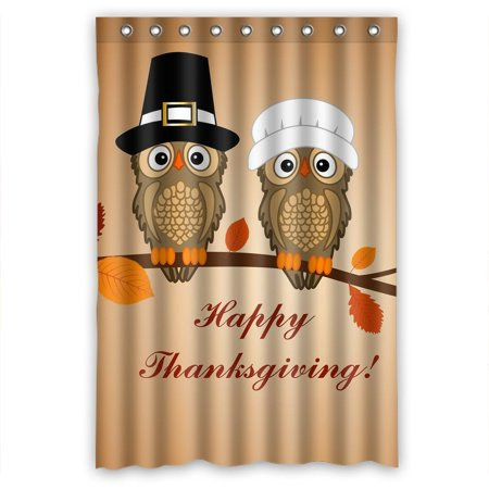 Gckg Owl Thanksgiving Day Waterproof Polyester Shower Curtain