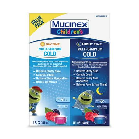 Mucinex Children's Multi-Symptom Day & Night Cold Relief Liquid, 2 x 4 fl (Best Cough Medicine For Kids At Night)