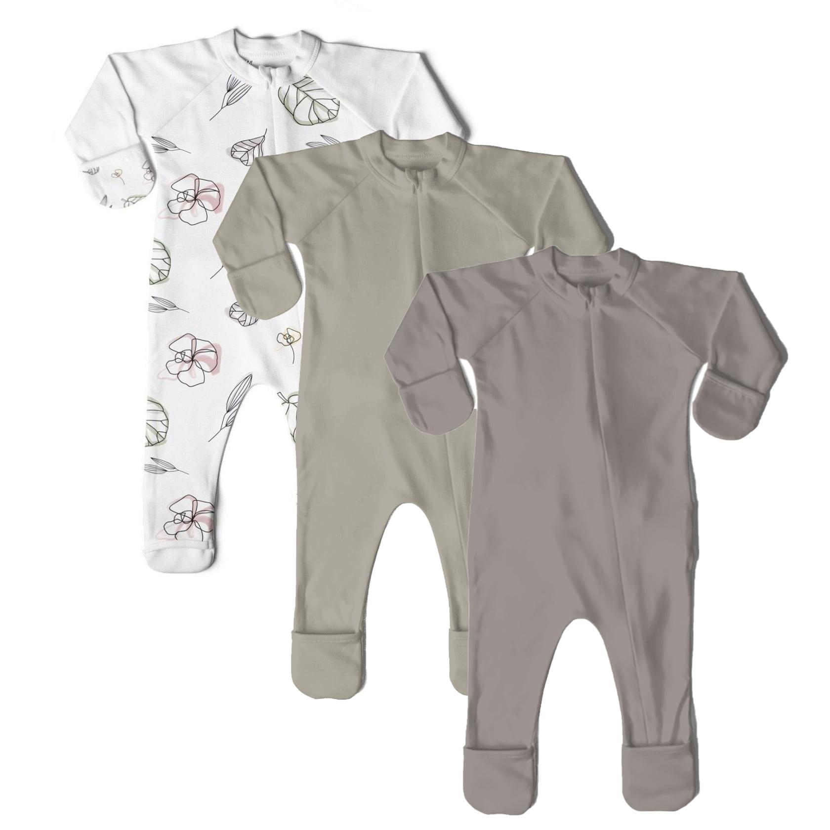Goumikids Unisex Baby Footie Pajamas Organic Sock Sleeper Clothes 18-24M Moss