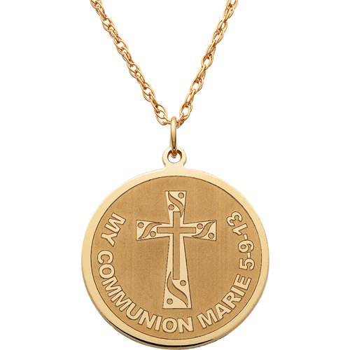 """Personalized Gold over Sterling Silver Cross """"My Communion"""" Name and Date Disc Necklace"""