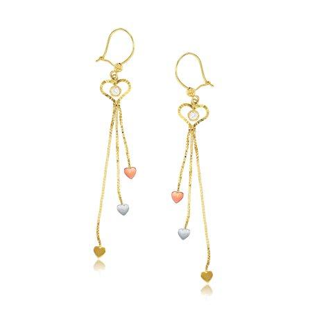 14K Tri-color Gold Diamond Cut Open Heart Dangle Earring Cute Open Heart