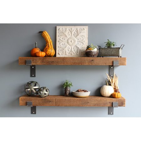 (Williston Forge Buckelew Made Chunky Reclaimed Barn Wood 2 Piece Wall Shelf Set (Set of 2))