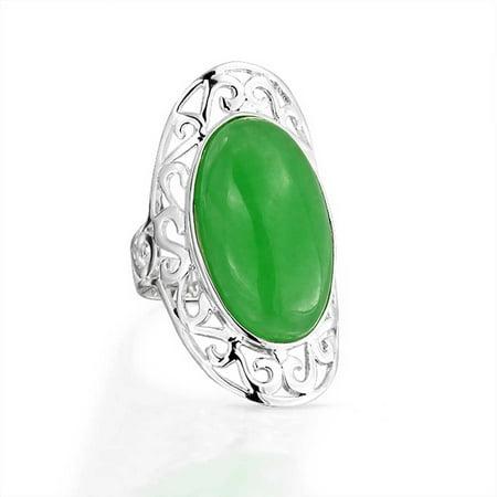 Jade Finger Ring (Filigree Scroll Boho Fashion Statement Full Finger Dyed Green Jade Ring Band For Teen For Women 925 Sterling)