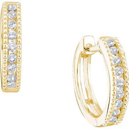 - 0.26 Carat (ctw) 10K Yellow Gold Round White Diamond Ladies Huggies Hoop Earrings 1/4 CT