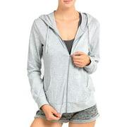 DailyWear Womens Long Sleeve Thin Cotton Full Zip Up Hoodie Jacket (Heather Grey, Medium)