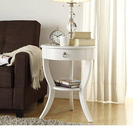 Shaped Accent - ModHaus Living Modern Wood Accent Nightstand End Sofa Table Round Shaped with Storage Drawer and Bottom Shelf - Includes Pen (White)
