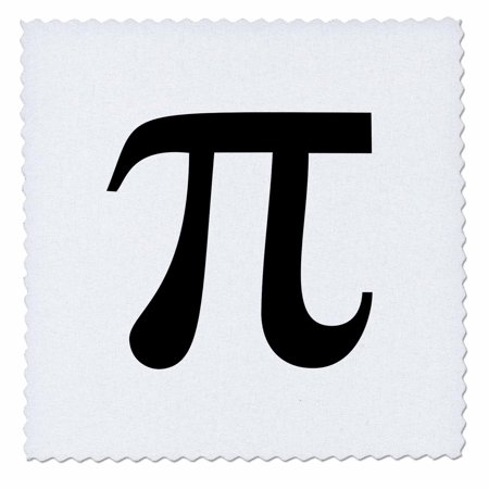 3dRose Pi symbol math sign. Mathematical black and white mathematics number - Quilt Square, 6 by 6-inch