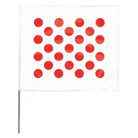 Value Brand Marking Flag, Red Polka Dots On White,
