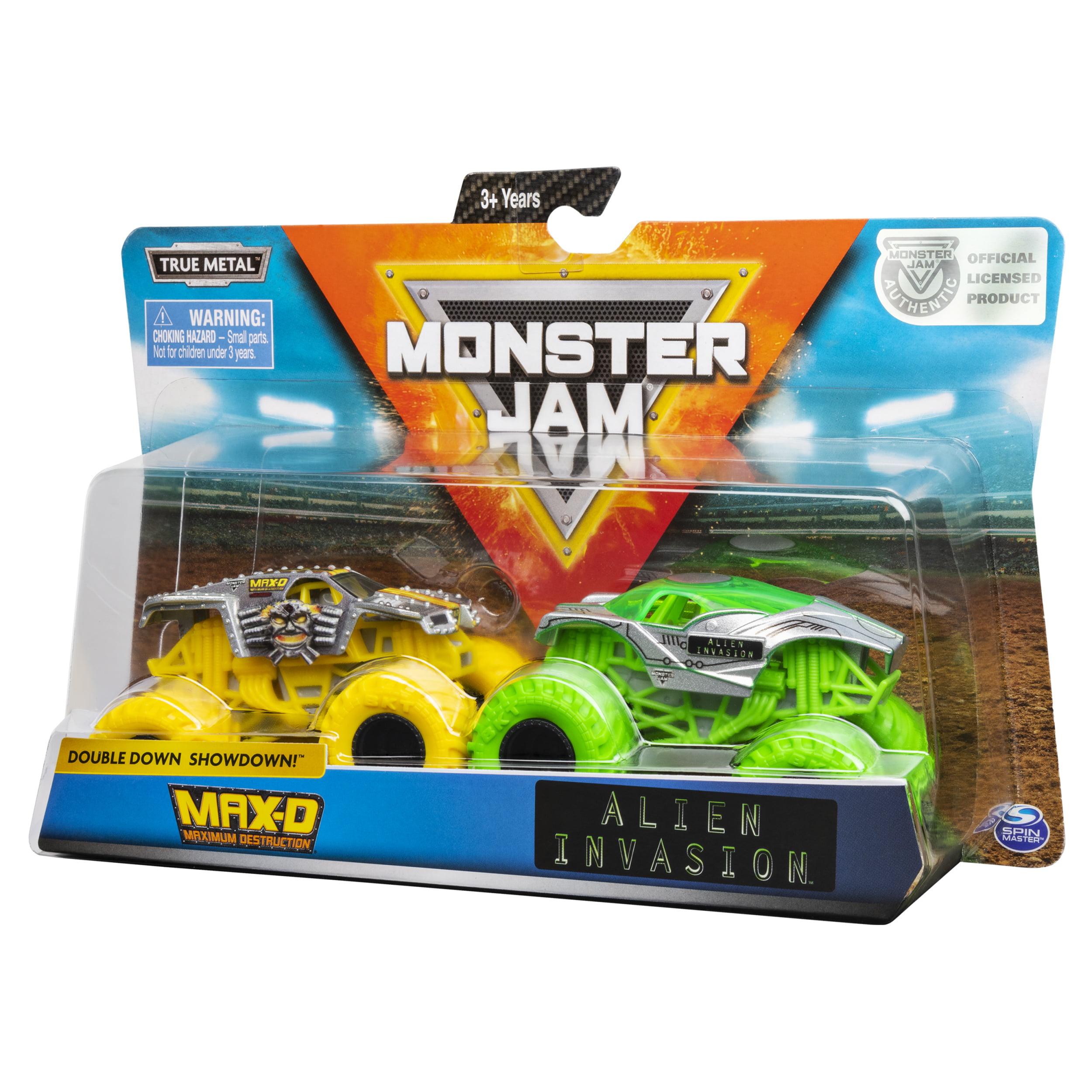 Monster Jam Official Max D Vs Alien Invasion Die Cast Monster Trucks 1 64 Scale 2 Pack Walmart Com Walmart Com